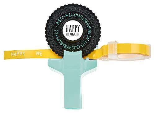 Happy me Label Maker | Etikettenprägegerät im Happy me Design | Mit 2 Kleberollen in pink und gelb