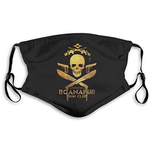 Halloween verstelbaar Earloop-gezichtsmasker ROANAPUR Gun Club stofdicht veiligheids-mondmasker met 2-delige actieve koolfilter