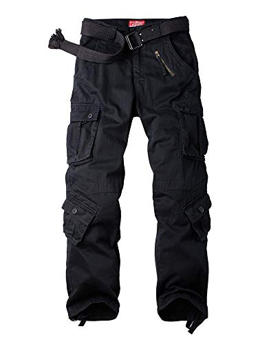 Women's Tactical Pants, Cotton Casual Cargo Work Pants Military Army Combat Trousers 8 Pockets,Black,34(US 14)