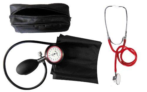 Blutdruckmessgerät Oberarm 1-Schlauch + Stethoskop Doppelkopf rot Doppelkopfstethoskop zertifizierte Klinikqualität
