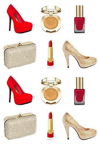Vorgeschnittene, rote und goldfarbene Kuchendekoration für Mädchen und Frauen, essbares...