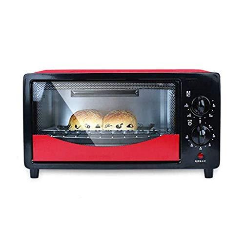 CHENMAO Mini horno 12L Parrilla eléctrica Calefacción rápida, con ajuste de temperatura 90-250 □ Y 60 MINS TEMPORIZADORES DE PUERTE DE PUERTE GLAZED 500W Horno de tostadora, 3 funciones para hornear f