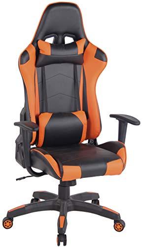Silla Racing Miracle V2 en Cuero PU I Silla Gaming Regulable en Altura I Silla Gamer con 2 Cojínes Removibles I Silla Ordenador I Color:, Color:Negro/Naranja