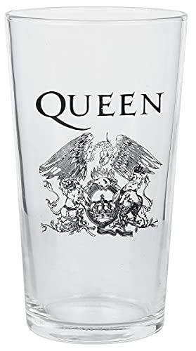 Queen Crest Unisex Vaso de cerveza transparente, vidrio, 0,5 l