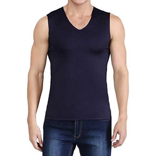 Yowablo Herren Tank Top Unterhemd T-Shirt Rundhals Ice Silk Traceless Thin Breathable Pure Color Ärmelloses Top mit V-Ausschnitt (3XL,1Marine)