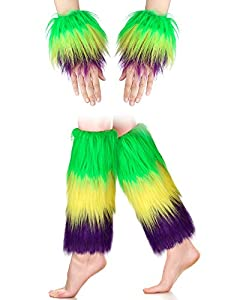 Application: the faux fur cuffs are comfortable and lightweight and they suit for keeping warm in winter, cosplay, game play, festival, party, stage performance, Halloween costume, Christmas costume etc. Color detail: the 2 pairs of beautiful furry l...