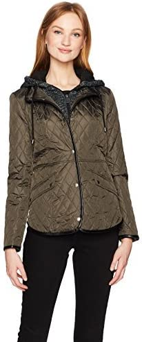 Sebby Large-scale sale Women's Snap Limited price sale Front Quilt A Hood Jacket with Fleece