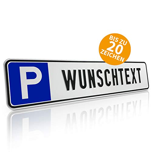 Betriebsausstattung24® Individuelles Parkplatzschild mit Wunschprägung/Wunschtext mit P-Symbol | BxH 52,0 x 11,0 cm | Autoschild Aluminium geprägt | mit/ohne Löcher