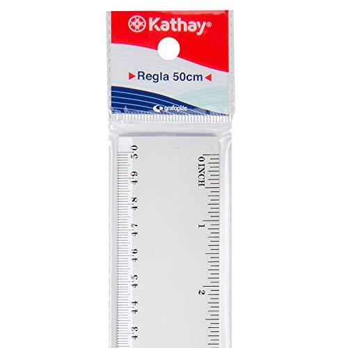 Kathay 86420400. Regla de Plástico, 50cm, Transparente, Perfectas para Uso Escolar