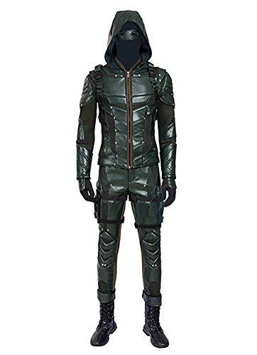 Qian Qian Herren PU-Leder Kampf Anzug Bogenschütze Halloween Cosplay Kostüm Outfits (S, Grün)