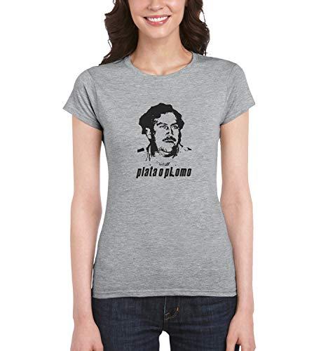 Narcos Escobar Plata O Plomo_MRZ1177 Camiseta 100% Algodón para Mujer, Camiseta de Verano, Regalo, Mujer, Camisa Casual - gris - Medium