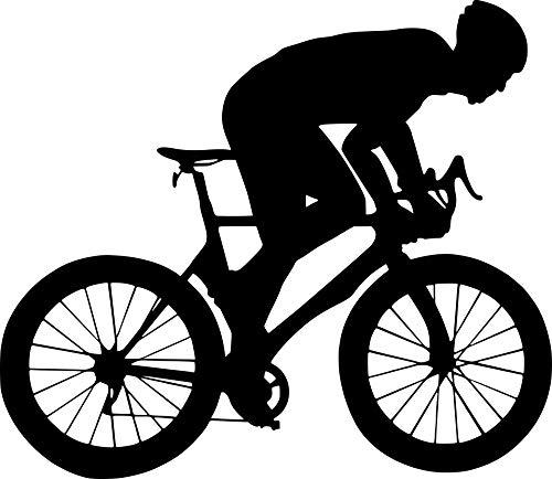 EmmiJules Wandtattoo Fahrrad-Fahrer Mountainbike - Made in Germany - in verschiedenen Größen und Farben - Kinderzimmer Junge Sport Wandsticker Wandaufkleber Wohnzimmer (50cm x 60cm, schwarz)