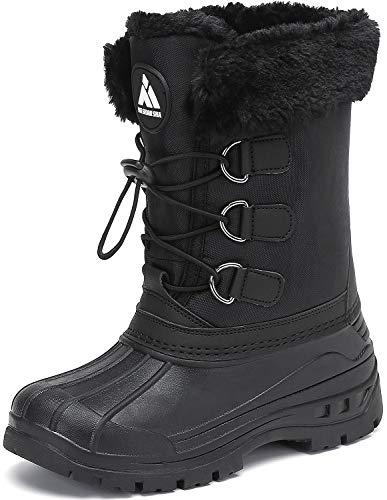 Mishansha Dziecięce buty zimowe dla chłopców ciepłe wodoodporne śniegowce dziewczęce antypoślizgowe buty zimowe rozm. 28-38 EU, czarny - czarny - 30 EU