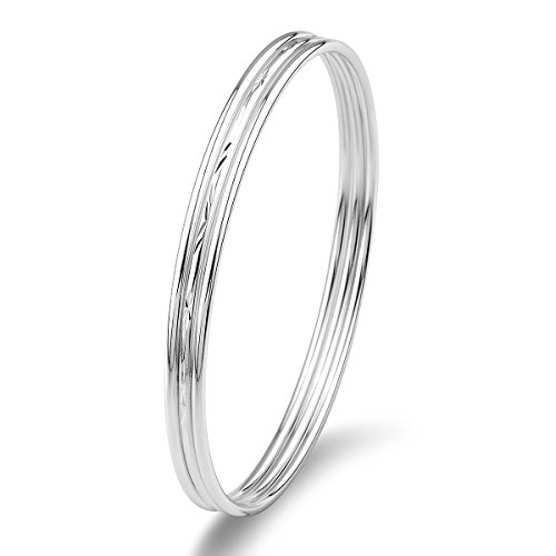 Mecool Sterling Silver Bangle Bracelet Set Three Stackable Bangles for Women/Girls-Inner Size 7 CM