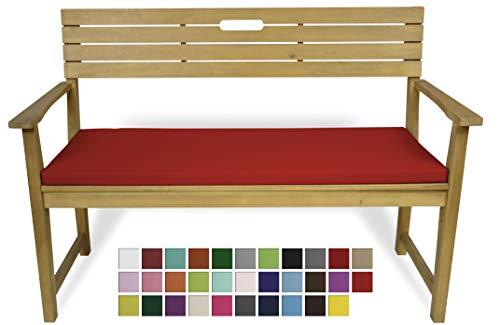 Rollmayer Bankkissen Bankauflage Sitzkissen Bankpolster Auflage für Bänke in Haus und Garten Kollektion Vivid, 1 Stück (Rot 12, 120x40x4cm)