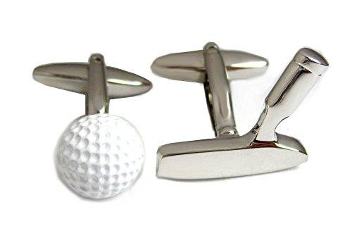 Unbekannt Golf Manschettenknöpfe Ball Schläger Weiss silbern inkl. Geschenkbox