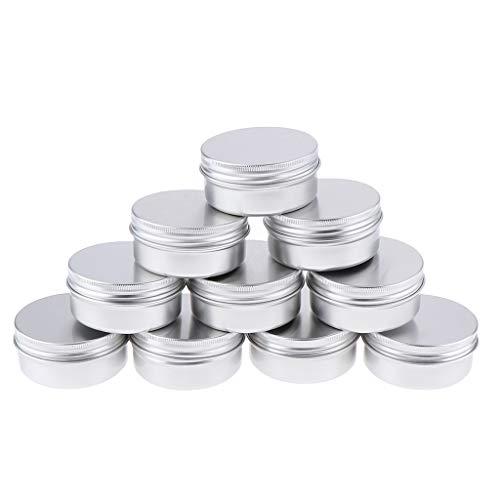 Homyl 10 Pedazos 50ml Latas de Aluminio Tarros Cosméticos Botella de Bálsamo de Labio Envase de Tapa de Tornillo
