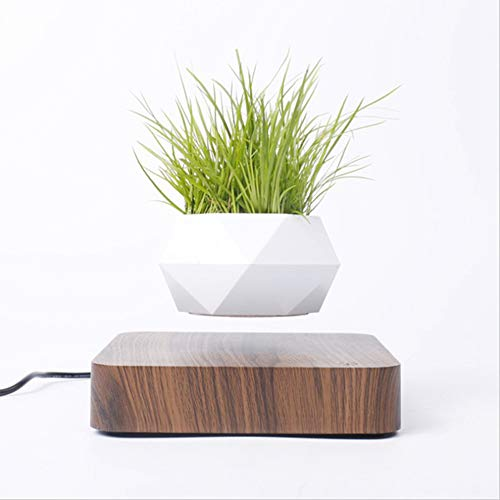 DRESSPLUS New Magnetic Levitation Air Bonsai Pot,Creative Mini Sky-Garden Rotating Flower Pot Planter, for Home & Garden Desk Decoration and Gifts (Dark Wooden Color)