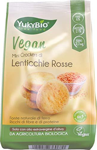 12 x Yukybio Mini crackers biologici Lenticchie Rosse 150g