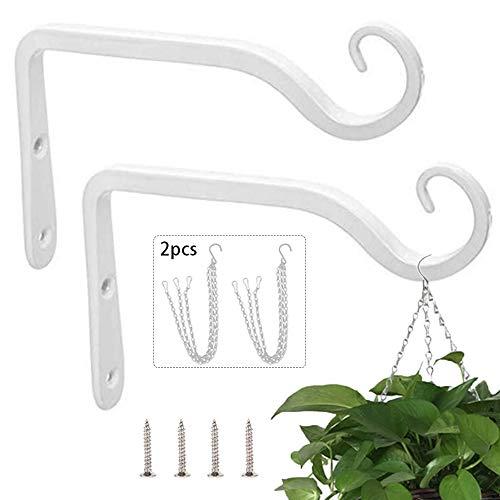 2 ganchos para colgar en la pared, de hierro blanco, para colgar en la pared, con 2 cadenas colgantes para colgar plantas, farolillos y comederos de pájaros.