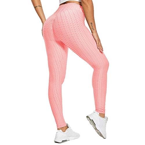 SotRong High Waist Damen Blickdichte Yoga Pants Fitnesshose Sporthose Lange Leggings für Damen Rosa M