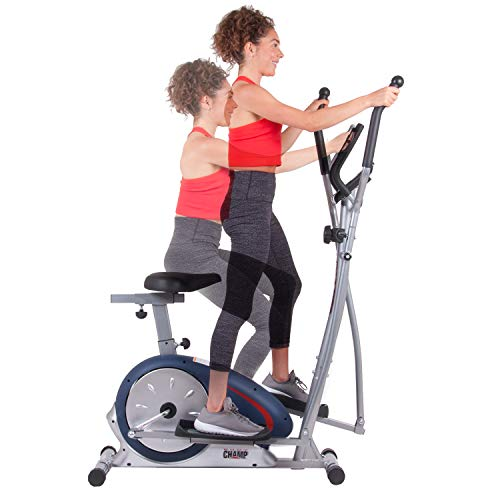 Body Champ Cardio Trainer, 2-in-1 Stationary Bike and Elliptical with Seat, Indoor Home Exercise Equipment for Fitness BRM2788