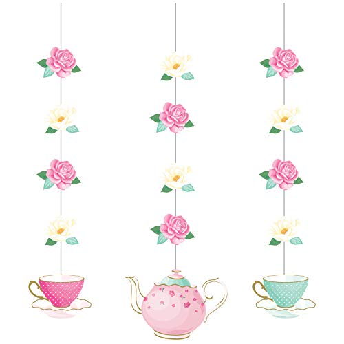 Creative Converting 340100 Floral Tea Party Hanging Decorations, Multi-Colored, 32', 3 ct