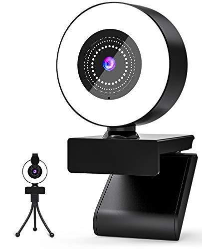 Webcam, 2K Full HD con MicrófonoIncorporado, Webcam con Luz Anular, Plug and Play, con Tapa Webcam, USB Webcam para Videollamadas, Estudio, Conferencia, Compatible con Windows, Android, IOS, Linx