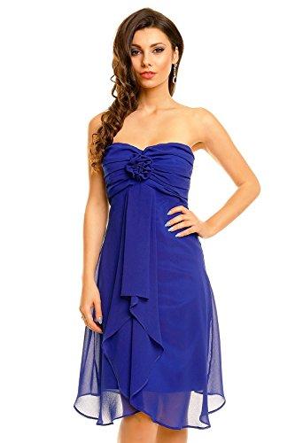 Fashion Damen trägerloses Cocktailkleid Abiballkleid Abendkleid Chiffonkleid dunkel blau XL