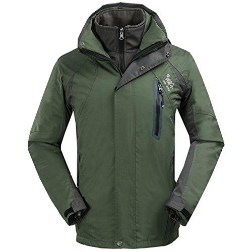 SHAMEI Homme 3 en 1 Coupe-Vent Imperméable Respirante Outdoor Sport Veste de Camping Randonnée Manteau avec Veste Polaire (XXX-Large, Armée Verte)
