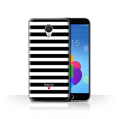 Stuff4 Phone Case/Cover/Skin/mzum3 N/Custom Stripes/Striped Collection Coeur Rayure Noir