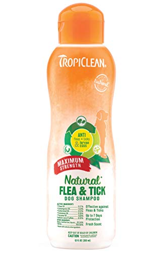TropiClean Natural Flea & Tick Shampoo for Dogs - Made in USA - Kills 99% of Fleas, Ticks, Larvae, Eggs by Contact - EPA-Approved Cedarwood & Lemongrass Oil (335 ml)
