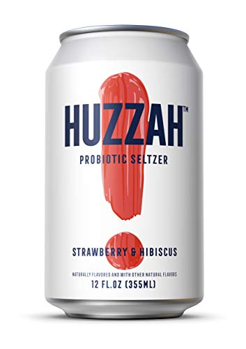 HUZZAH Seltzer Sparkling Water- Bubbles with Benefits - Low Calorie & Low Sugar Delicious Bubbly Water- Strawberry and Hibiscus - 12 Fl. Oz Cans (6 Pack)