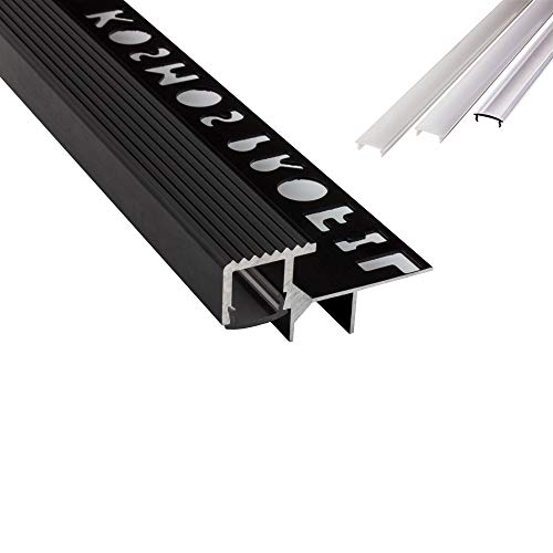 T-40 LED Alu Fliesenprofil Treppenprofil Stufen 12mm schwarz + Abdeckung Abschlussleiste Fliesen für LED-Streifen-Strip 2m milky