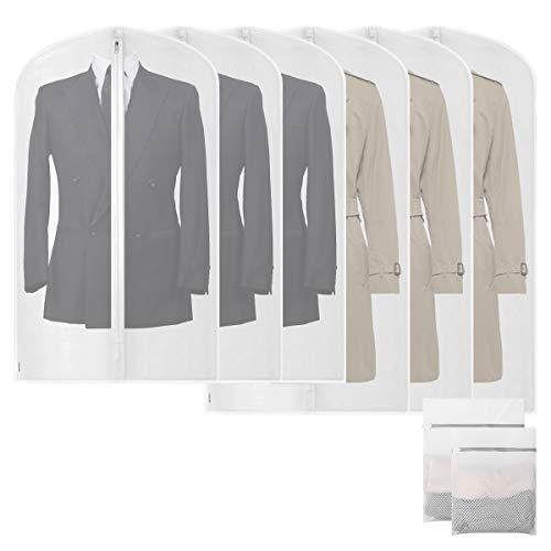 FACIACC Staubdichte Wäscheabdeckungen Kleidersäcke Anzug Lange mit verdicktem Reißverschluss, durchscheinende PEVA-Aufbewahrungsbeutel gegen Falten (60 x 100cm/3 Stück + 60 x 120cm/3 Stück)