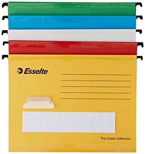 Esselte Carpeta colgante reforzada, Tamaño A4, Cartón kraft reciclado, Visor de plástico transparente, Colores surtidos, Classic, 93042, Caja de 10
