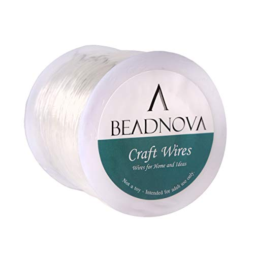 BEADNOVA 1mm Bracelet String Clear Craft Wire Stretch String Cord for Jewelry Making Beading Thread Elastic String Cord (100m)