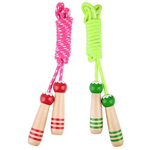 Hianjoo [2 PCS Corda per Saltare per Bambini, Corda per Saltare Fitness in Cotone colorato con Impugnatura in Legno per Sport per Bambini (Rosso, Verde)