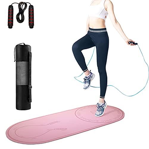 Colchoneta para saltar la cuerda con cuerda para saltar, colchoneta antideslizante para ejercicios silenciosos para saltos en interiores, extiende la vida útil de la cuerda para saltar, 55x24x0.2