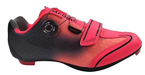 MEBIKE Womens Road Cycling Shoes Lady Look Delta Bike Shoes Womens Indoor Cycling Shoes Lock MTB Bicycle Cycling Shoes for Women (Numeric_7_Point_5) Fuchsia/Black