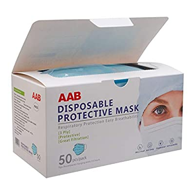 3-Ply Ear Loop Face Masks - 50 count box - Disposable - Face Protection PPE - Breathable & Comfortable Safety Mask