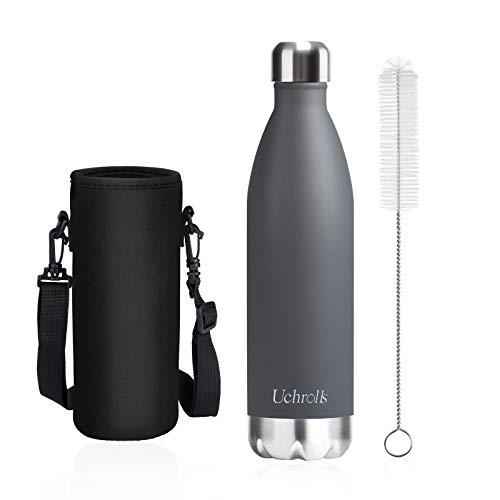 Uchrolls Botella de Agua aislada al vacío de Acero Inoxidable, 750ml, diseño de Pared Doble para Mantener Sus Bebidas Caliente y Fría, BPA Gratis, Ideal Botella de Agua Deportiva (Gris)