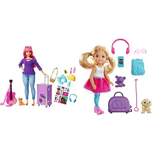Barbie Muñeca Daisy Vamos De Viaje con Accesorios (Mattel Fvv26) + Chelsea Vamos De Viaje con Perrito, Muñeca con Accesorios, Regalo para Niñas Y Niños 3-9 Años (Mattel Fwv20)