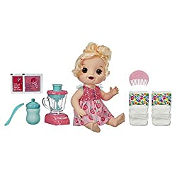 TOY BLENDER REALLY WORKS – The baby's ready for a treat! Pretend to make her a strawberry shake in a real working toy blender! Add pink doll food and water into the blender. Then push down button to mix! SHE LOVES TO EAT AND DRINK – After you mix up ...