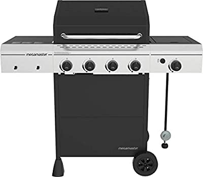 Megamaster 720-0804H 4 Propane Gas, Black/Silver Grill with Side Burner