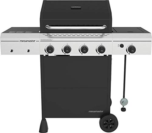 Megamaster 720-0804H 4 Grill with Side Burner, Black/Silver Burners Grill