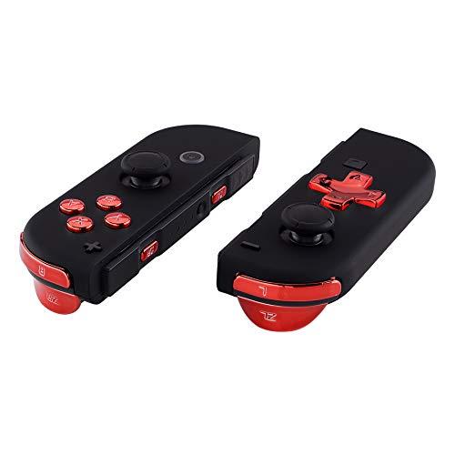 eXtremeRate D-Pad Boutons SR SL L R ZR ZL Trigger Touches,Kit de Boutons Remplacement pour Nintendo Switch Joycons(D-Pad Seulement pour eXtremeRate Coques de Joycon D-Pad)-Rouge Chromé