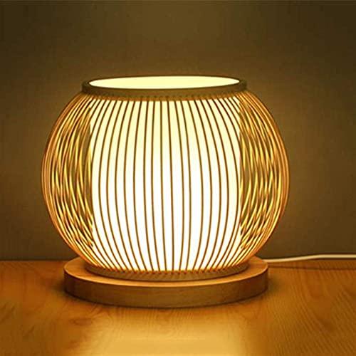DINGYGJ Lámpara de mesa de ratán de bambú creativo, estilo japonés lámpara de noche de lona de bambú de madera maciza de bambú sala de mesa zen lámpara de mesa retro estilo linterna escritorio-lámpara