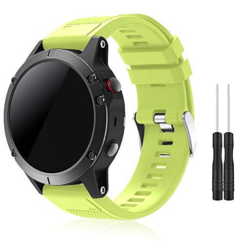 TOPsic Garmin Fenix 5 Banda, Silicona Reemplazo Correa con 2pzs Destornilladores para Garmin Fenix 5 / Forunner 935 Smart Watch, 13.5cm-22.5cm, no Adapta a Fenix 5X, 5s (Verde)