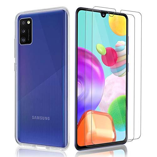 Kompatibel für Samsung Galaxy A41 Hülle & Panzerglas, 9H Festigkeitgrad Schutzfolie & TPU Silikon Hülle Cover Handyhülle für Samsung Galaxy A41- Transparent